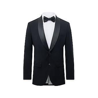 الاستفادة لندن الرجال الأسود البدلة الرسمية سترة نحيف صالح شال لابيل