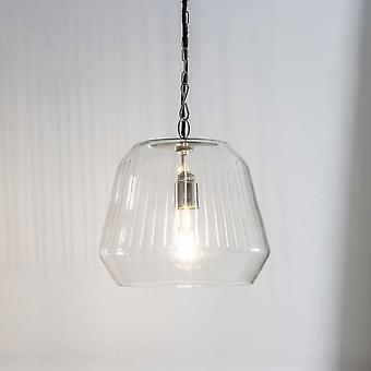 Garden Trading Gosforth Small Glass And Satin Nickel Pendant Light