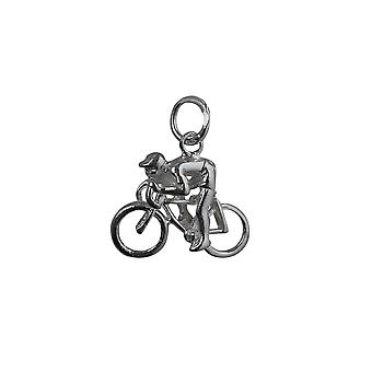 Silver 14x18mm Bicycle and Cyclist Pendant or Charm