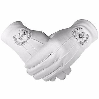 Masonic cotton gloves with machine embroidery square compass and g silver