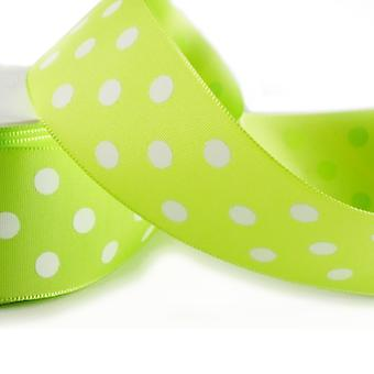 20m Lime Green 38mm Wide Polka Dot Satin Ribbon for Crafts
