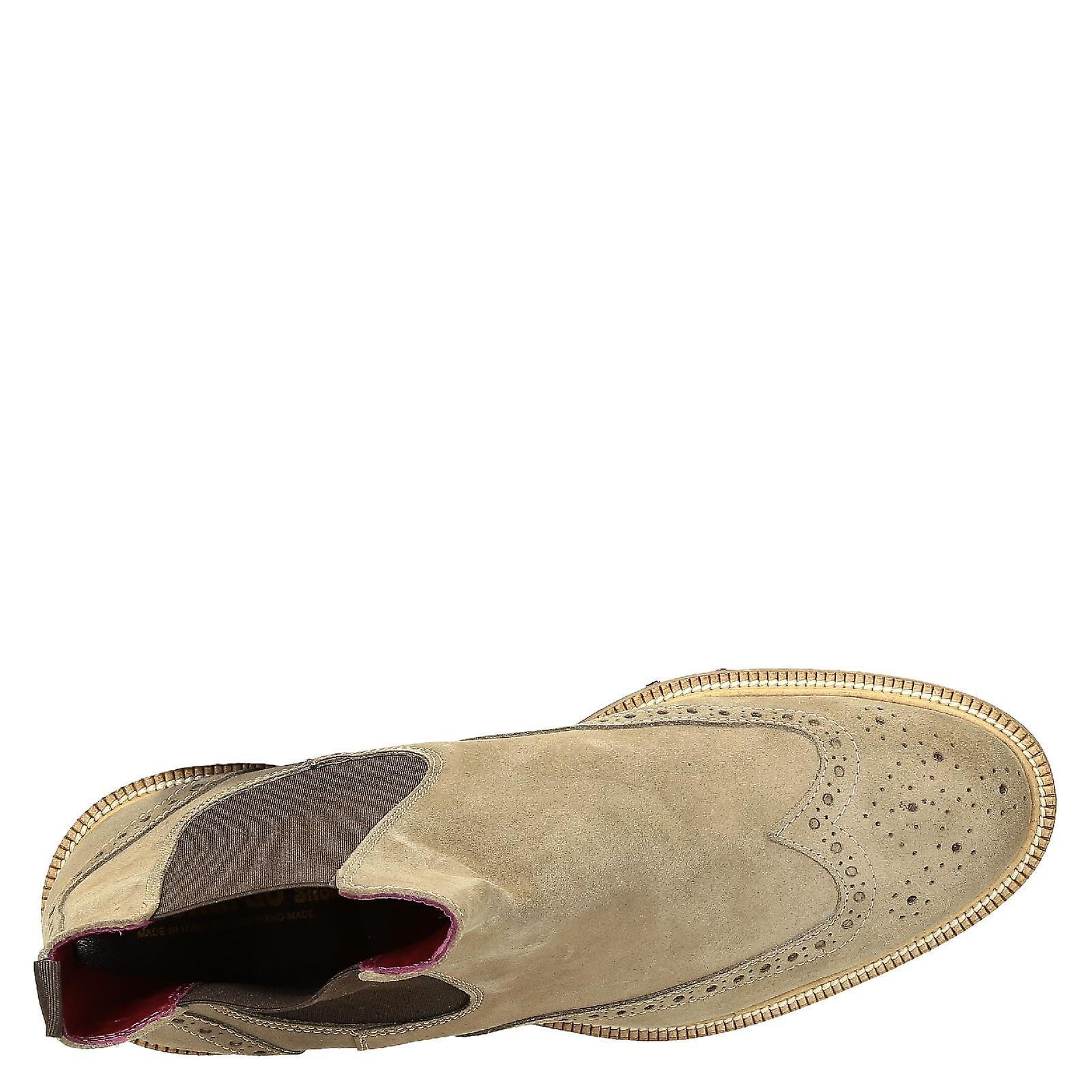 Leonardo Shoes Men-apos;s bottes chelsea brogues faites à la main en cuir de daim beige