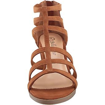 Bella Vita Women's Leah Sandal with Back Zipper Shoe, Biscuit Kidsuede Leathe...
