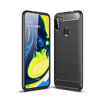 Samsung Galaxy A11 TPU tapauksessa hiilikuitu optinen harjattu suojakotelo musta