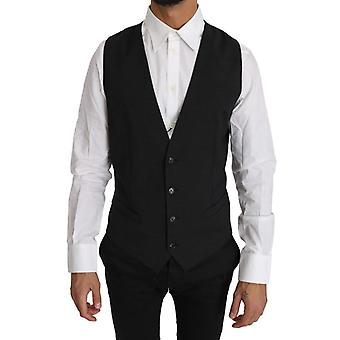 Dolce & Gabbana Gray Solid 100% Wool Waistcoat Vest -- TSH2965808