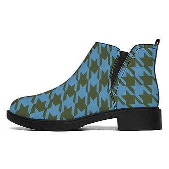 Designer Boots | Fashion Boots | Blue Houndstooth