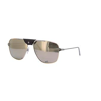 Cartier Santos de Cartier CT0037S 003 Ruthenium/Silver Mirror Sunglasses