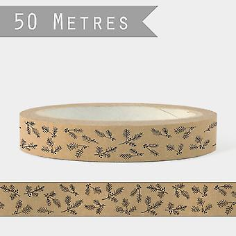 East of India Sticky TAPE Brown with Fir and Berry Xmas Craft x 50m