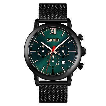 Skmei Mens Green Chronograph Quartz Watch Mesh Metal Strap Date Display SK9023GRN