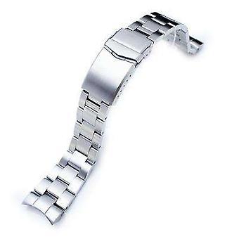 Strapcode orologio bracciale 22mm super ostriche 316l cinturino orologio in acciaio inox per orientare mako ii , ray ii, v-clasp pulsante doppio blocco