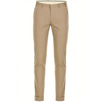CC Collection Corneliani Beige Pleat Cotton Trousers