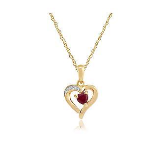 Classic Pyöreä Ruby & Diamond Heart riipus kaulakoru 9ct Keltainen Gold 10916
