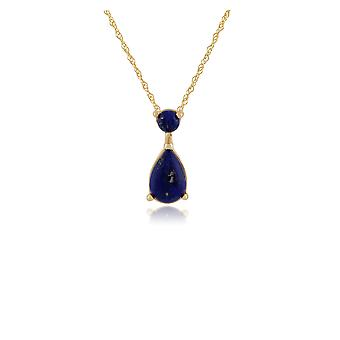 Classic Pear Lapis Lazuli Pendant Necklace in 9ct Yellow Gold 135P1575029