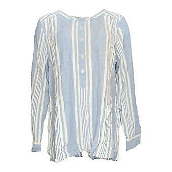 Denim & Co. Women's Top Striped Yarn Dyed Woven Blue A275870