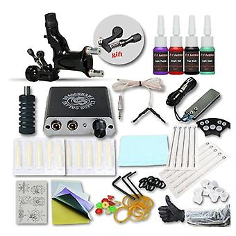 Tattoo Kit - Inks Wrap Coils With 1 Black Tattoo Motor Machine Grips Needles Power Supply Tattoo Kit For Beginner