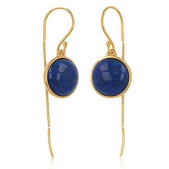 ADEN Gold Plated 925 Sterling Silver Lapis Lazuli Round Shape Earrings (id 4271)