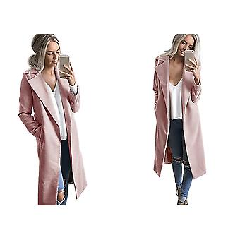 Womens Wool Look Winter Long Midi Outwear Trench Coat