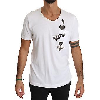 Dolce & Gabbana Hvit Bee Crown Jeg elsker deg Bomull T-skjorte -- TSH3709424