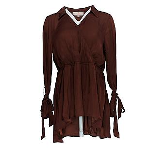 Laurie Felt Women's Top Ribbon Long Sleeve Woven Blouse Red A309556