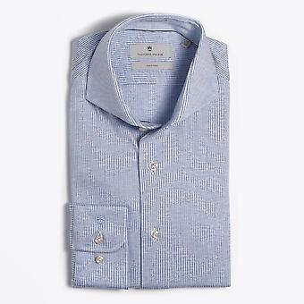 Thomas Maine  - Cotton Stripe Knitted Shirt - White/Blue