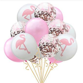 Ballons gonflables d'anniversaire - flamant rose décoré de partie de confetti, ananas et