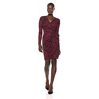 Brand - Lark & Ro Women's Classic Long Sleeve Wrap Dress, Navy/Burgund...