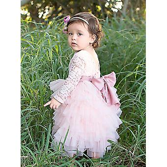 2Bunnies Girl Pivoine Lace Back A-Line Tiered Tutu Tulle Maxi Flower Girl Robe...