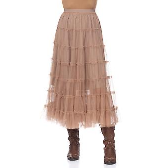 Net long flounces skirt