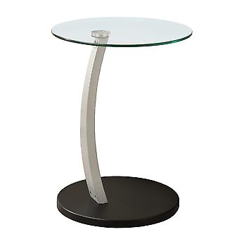 BLACK / SILVER BENTWOOD ACCENT TABLE WITH TEMPERED GLASS