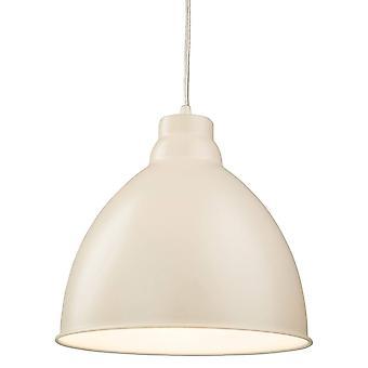 1 Light Dome Ceiling Pendant Cream, E27