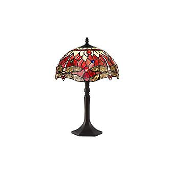 1 Light Octagonal Table Lamp E27 With 30cm Tiffany Shade, Purple, Pink, Crystal, Aged Antique Brass