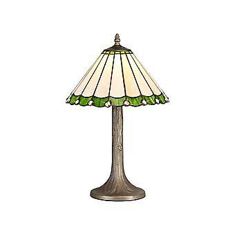 1 albero leggero come lampada da tavolo E27 con 30cm Tiffany Shade, Verde, Cristallo, Ottone Antico Invecchiato