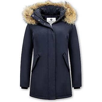 Winter Coat With Real Fur Collar - Slim Fit - Blue