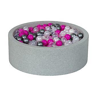 Poço de bola 90 cm com 450 bolas mãe de pérola, transparente, roxo e prata