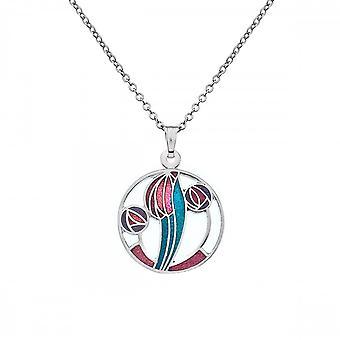 Sea Gems Mackintosh 20mm Roses Tulip Necklace - Red Purple Turquoise 7674rptq