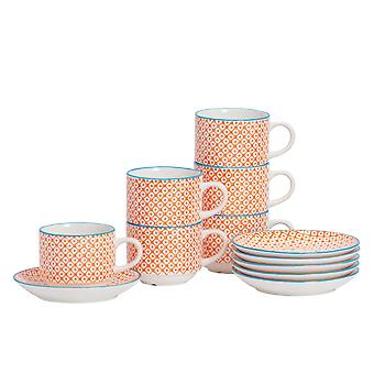 Nicola Spring 12 Piece Hand-Printed Stacking Teacup and Saucer Set - Japanese Style Porcelain Coffee Cups - Orange - 260ml