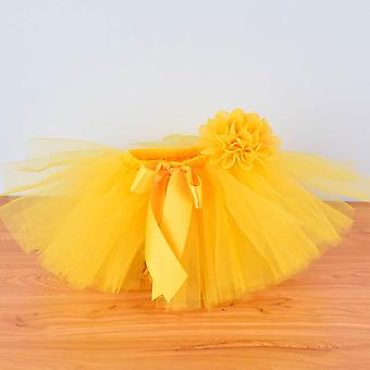 Yellow Baby Fluffy Tutu Saia e Conjunto de Bandana, para 0-12m