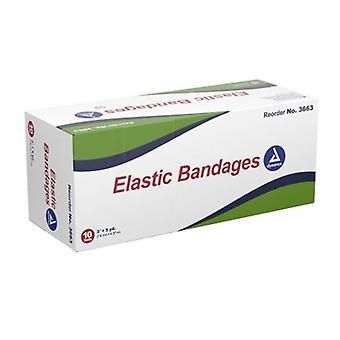 Dynarex Elastic Bandage Dynarex 3 Inch X 4-1/2 Yard Standard Compression Clip Detached Closure Tan NonSteri, Tan 10 Count