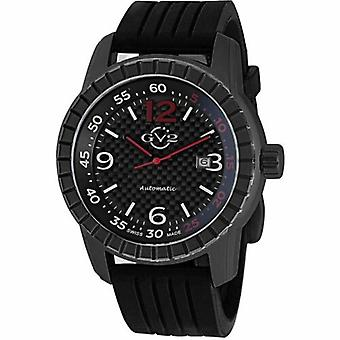 GV2 by Gevril Men's 9302 Lucky 7 Automatic Black Dial Black Rubber Date Watch