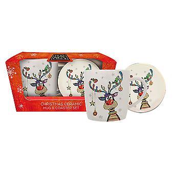 Joe Davies Kooks Xmas Mug & Coaster Reindeer BG0295