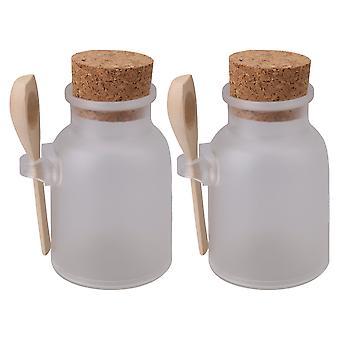 2 x Rund flaske med propper Bad Salt Container 100ml med træske