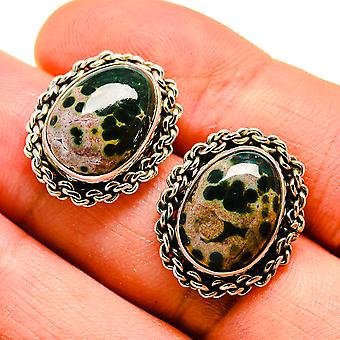 "Ozean Jaspis Ohrringe 3/4 "" (925 Sterling Silber) - handgemachte Boho Vintage Schmuck EARR407904"