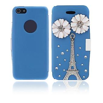 Flip Leather Bling Flower Case Cover PU Skóra do iPhone'a 5 5s Blue