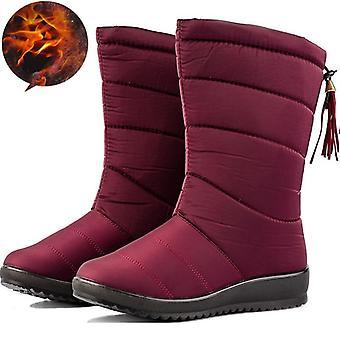 חורף נשים מגפיים קרסול למטה שלג עמיד למים פרנזים נעלי חורף נשים חם