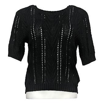 Sanctuary Women's Sweater Short Sleeve Mixed Stitch Black