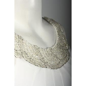Schulter Perle Detail Kontrast Jersey Kleid