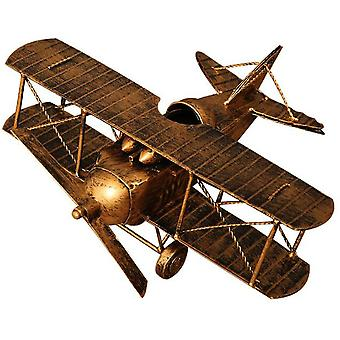 Home Wrought Iron Decoration Airplane Model Detachable Ornament Old Gold