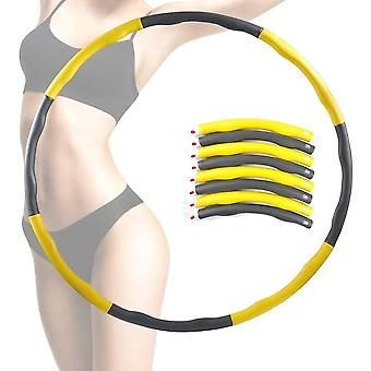 Yellow Weighted Hula Hoop Abdominal Exerciser Fitness Core Strength Hoola