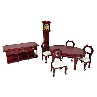 Dolls House Mahogany 6 Piece Dining Room Suite Miniature Furniture Set