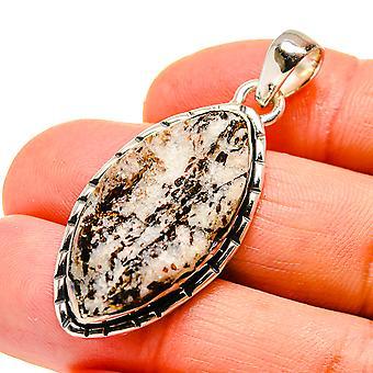 الخام Astrophyllite قلادة 1 7/8 & نقلا عن ( 925 الاسترليني الفضة) -- اليدوية اليدوية بوهو خمر مجوهرات PD746677